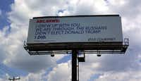 "Kyle Courtney's billboard message to ABC News went up Tuesday on Interstate 10 in southern Boerne, about 30 miles outside San Antonio. Courtney said in a statement that the television network ""has lost touch with America and forgotten the working man."""