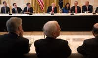 President Donald Trump took part in a discussion Thursday during the American Leadership in Emerging Technology event at the White House in Washington, June 22, 2017. From left are Jared Kushner; Michael Kratsios of the Office of Science and Technology; Peter Barris of New Enterprise Associates; Trump; Dyan Gibbens of Trumbull Unmanned; Darius Adamczyk of Honeywell; and Gary Cohn of the National Economic Council.(Stephen Crowley/The New York Times)