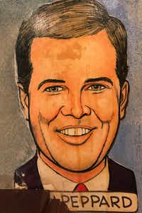Dallas Morning News staff writer Alan Peppard's caricature on the wall of the Palm in Dallas' West End. During a 1990s remodel, a new booth was installed that concealed his first name.(Alan Peppard/staff)