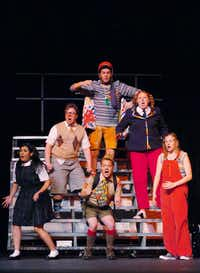 Derek Whitener (top center) played Leaf Coneybear in <i>The 25th Annual Putnam County Spelling Bee </i>at the Campus Theater in Denton. (2012 File Photo/Denton Record Chronicle)