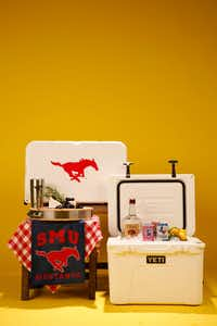 Yeti cooler customized for fans from Southern Methodist University(Rose Baca/Staff Photographer)