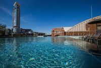 The sixth floor pool overlooking the American Airlines center at the new Ascent Victory Park apartments Wednesday, June 21, 2017, in Dallas.(Ryan Michalesko/Staff Photographer)