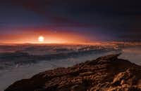 This artist's impression shows a view of the surface of the planet Proxima b orbiting the red dwarf star Proxima Centauri, the closest star to the Solar System. Proxima b is a little more massive than the Earth and orbits in the habitable zone around Proxima Centauri, where the temperature is suitable for liquid water to exist on its surface. (M. Kornmesser/ESO/TNS)