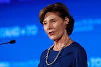 "Former first lady Laura Bush spoke Friday during ""Stand-To,"" a summit sponsored by the George W. Bush Institute focused on veterans' transition back to civilian life.(Jacquelyn Martin/The Associated Press)"