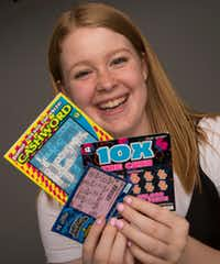 Isenberg knocks scratching lottery tickets off the list of new things she can do as an 18-year-old. (Ryan Michalesko/Staff Photographer)