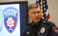 Bedford Police Chief Jeff Gibson held a news conference on Kaytlynn Cargill, the 14-year-old girl whose body was found in an Arlington landfill. (Ron Baselice/The Dallas Morning News)