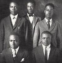 This photo shows Melvin B. Tolson (center) and members of the 1935 Wiley College debate team that prevailed over the nationally known University of Southern California during a debate in California. The accomplishments of Wiley's debate team under the leadership of noted poet Tolson inspired a 2007 movie starring Denzel Washington.<div><br></div>(Wiley College)