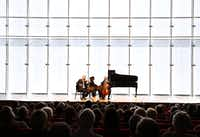 Stephen Rose on violin, John Novacek on piano and Brant Taylor on cello performed Piano Trio in C Major, Hob. XV, No.27 by Franz Joseph Haydn at the Mimir Chamber Music Festival at the Renzo Piano Pavilion at the Kimbell Art Museum in 2014. (Brad Loper/Staff Photographer)