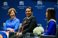 Former first lady Laura Bush speaks on a panel with graduates Aung Kyaw Moe (center) and Ei Ei Phyu at the graduation of the 2017 class of the Bush Institute's Liberty and Leadership Forum on Monday, June 26, 2017 at the George W. Bush Presidential Center on the campus of Southern Methodist University in Dallas.(Ashley Landis/Staff Photographer)