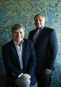 Frank Mihalopoulos and Tony Ruggeri pose for a portrait at ATR Corinth Partners in Dallas on Tuesday, March 1, 2016. The two Dallas based real estate investors have a formula to fix old regional malls and make them productive again. (Vernon Bryant/The Dallas Morning News)(Vernon Bryant/Staff Photographer)
