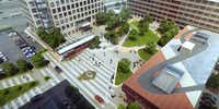 Energy Square and the Meadows Building will share a 1-acre park and central plaza.(Gensler)