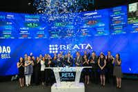 <p>Reata Pharmaceuticals is one of the newcomers to this year's ranking. Led by chief executive J. Warren Huff, company leaders rang the bell at Nasdaq on May 26, 2016.</p>(Christopher Galluzzo/Nasdaq)