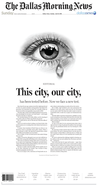 The Dallas Morning News front page, July 10, 2016