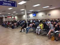 Only a few seats are empty at the driver's license mega center in Garland. The wait on this day for someone without an appointment was three hours, Dallas Morning News Watchdog Dave Lieber says.(Dave Lieber/DMN)