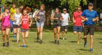 Dan Short (third from right), 72,  joins fellow members of Camp Gladiator in a sprint. <div><br></div>(Ron Baselice/Staff Photographer)