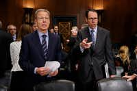 AT&T chairman and CEO Randall Stephenson (right) and Time Warner chairman and CEO Jeffrey Bewkes were on Capitol Hill in Washington on Dec. 7, 2016, to testify before a Senate Judiciary subcommittee hearing on the proposed merger between AT&T and Time Warner.(Evan Vucci/The Associated Press)