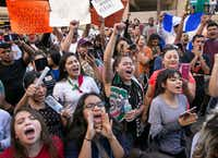 """Hundreds turned out in February in Austin as part of the """"A Day Without Immigrants"""" demonstration. Immigrants around the U.S. stayed home from work and school to demonstrate how important they are to America's economy, and many businesses closed in solidarity.(Jay Janner/Austin American-Statesman)"""