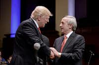President Donald Trump and First Baptist Dallas Pastor Robert Jeffress (right) participated in the Celebrate Freedom Rally at the John F. Kennedy Center for the Performing Arts in Washington, D.C., on Saturday, July 1, 2017. (Olivier Douliery/TNS)