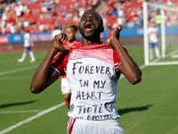 FC Dallas forward Roland Lamah (20) celebrates as he lifts his shirt with a message after scoring the first goal in a MLS game against Toronto FC during the first half of play at Toyota Stadium in Frisco on Saturday, July 1, 2017.  (Vernon Bryant/The Dallas Morning News)