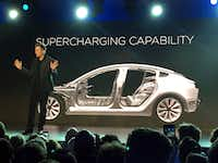 Tesla CEO Elon Musk spoke at the unveiling of the Model 3 at the Tesla Motors design studio in Hawthorne, Calif., in March 2016.(File Photo/The Associated Press)
