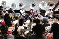 The Dallas Mass Band summer program practices at the Braswell Child Development Center in Dallas on June 21.(Tailyr Irvine/Staff Photographer)