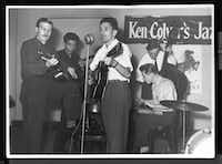 "<p><span style=""font-size: 1em; background-color: transparent;"">The founding fathers of British rock:  Ken Colyer (left), Alexis Korner, Lonnie Donegan, Bill Colyer (seated) and Chris Barber play together in Ken Colyer's Skiffle Group, 1953. From </span><i style=""font-size: 1em; background-color: transparent;"">Roots, Radicals and Rockers: How Skiffle Changed the World</i><span style=""font-size: 1em; background-color: transparent;"">, by Billy Bragg.</span></p>(Faber & Faber)"