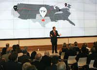 Toyota North America CEO Jim Lentz talks with the crowd at the grand opening of the new headquarters in Plano.(Louis DeLuca/Staff Photographer)