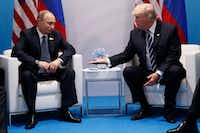 President Donald Trump meets with Russian President Vladimir Putin at the G20 Summit on Friday in Hamburg, Germany.(Evan Vucci/The Associated Press)