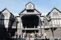 Lovers of plays and poetry go on a backstage tour of the Allen Elizabethan Theatre, an open-air theater designed for the Oregon Shakespeare Festival.  (Katy Bentz)