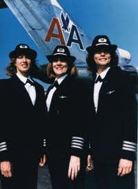 Beverley Bass (center) was among the first all-female flight crews for American Airlines on Dec. 30, 1986. The trip made national news. Terry Claridge, right, was the co-pilot on the trip, and Tracy Prior, left, was the flight engineer.(Courtesy photo)
