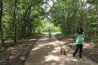 Dana McCormick (background) takes a photo as Diana Nowlin walks McCormick's dog Romero along a trail near where a proposed traffic bridge would be built.(Louis DeLuca/Staff Photographer)