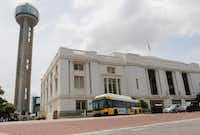 A DART bus pulls out of Union Station in downtown Dallas.(Ron Baselice/Staff Photographer)