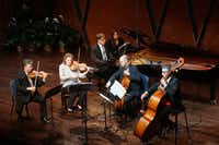 Pianist John Novacek joins violinist Curt Thompson, violist Kirsten Docter, cellist Brant Taylor and bassist Nicolas Tsolainos for with Ralph Vaughan Williams' Piano Quintet in C minor at the Mimir Chamber Music Festival Friday. (Lawrence Jenkins/Special Contributor)