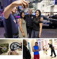 (Clockwise from top) Dallas Police Lt. Rick Rivas poses for photos with Elmer, Cesia and Brenda Contreras on the first anniversary of the attack. DCCCD Officer John Abbott shakes hands with a youngster on the sidewalk as Rivas and Elmer Contreras talk. Josh and Elmer Contreras hold police patches given to them by DCCCD Sgt. Lauri Boudreau.(Smiley N. Pool/Staff Photographer)