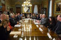 A Fort Worth couple -- Robert and Amy Dean, pictured at far left end of the table -- were among the families to take part in a health care listening session with Vice President Mike Pence on Monday, June 26, 2017. Robert and Amy Dean hope the GOP's health care overhaul will result in more affordable, better coverage.(White House)
