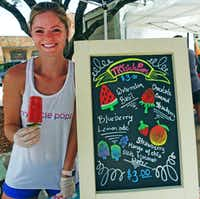 Heather Williams makes her Trysicle Pops at home  five minutes away  from Rockwall Farmers Market. Her signature: a cucumber slice at the bottom to catch the drips. (Kim Pierce)