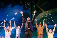 Billy Harrigan Tighe (playing J.M. Barrie in center) rips up his play as he sings with Christine Dwyer (as Sylvia Llewelyn Davies) and Sylvia's children in 'Finding Neverland,' the national tour of the 2015 Broadway musical, presented by AT&T Performing Arts Center at Winspear Opera House in Dallas on July 11, 2017.(Nathan Hunsinger/Staff Photographer)