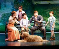 Christine Dwyer as Sylvia, Billy Harrigan Tighe as Barrie and actors playing three of the Llewelyn Davies boys in 'Finding Neverland,' presented by AT&T Performing Arts Center at Winspear Opera House in Dallas on July 11, 2017.(Nathan Hunsinger/Staff Photographer)