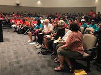 Carrollton residents and activist gathered at Carrollton City Hall on Tuesday to voice their opposition for the city's 287(g) program.(Elvia Limon)