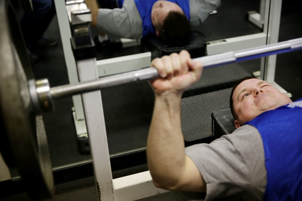 A Recruit Bench Presses During The First Fitness Test For Class 354 At The  Dallas Police Departmentu0027s Police Academy Training Center Off Red Bird  Center ...