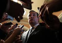 U.S. Sen. Ted Cruz, R-Texas, was surrounded by members of the media after he viewed the details of a new health care bill on Thursday at the Capitol. Senate Majority Leader Mitch McConnell, R-Ky., has released a new Republican health care plan. (Alex Wong/Getty Images)