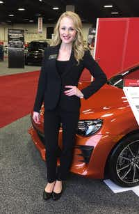 Carly White, pictured here as Toyota product specialist, has worked for Productions Plus for five years. She has worked auto shows all over the country.(Courtesy of Carly White)