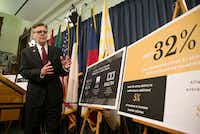 Texas Lt. Gov. Dan Patrick discusses his special session plan to boost teacher pay during a press conference at the Capitol in Austin, Thursday, July 13, 2017. Patrick wants to spend $700 million annually in Texas lottery revenue on bonuses for veteran teachers.(Deborah Cannon/AP)