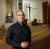 The Rev. Jesus Belmontes of San Juan Diego Catholic Church in Dallas in his church's sanctuary. He has joined other religious leaders in expressing his concerns about SB4, the Texas immigration bill about sanctuary cities. (Ron Baselice/Staff Photographer)
