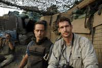 Sebastian Junger (left) and Tim Hetherington, directors of <i>Restrepo</i>, at the Restrepo outpost in the Korengal Valley, Afghanistan in an undated photograph.(Tim Hetherington&nbsp;/The New York Times)