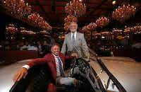 Nick Badovinus (left) and his father Wayne pose for photograph with the MG at Town Hearth in Dallas, Wednesday, June 21, 2017. (Jae S. Lee/The Dallas Morning News)