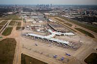 Dallas Love Field and the downtown skyline seen in a aerial view on Monday, March 6, 2017, in Dallas, Texas. (Smiley N. Pool/Staff Photographer)