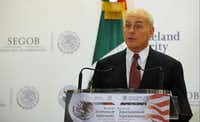 U.S. Homeland Security Secretary John Kelly speaks during a press conference at the Interior Ministry on July 7, 2017.(BERNARDO MONTOYA/AFP/Getty Images)