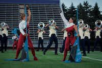 Zoe Middleton (right) dances during a run-through of The Troopers 2017 DCI show.(Stephen Mathew/The Troopers)