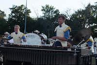 Jacob Hord (right) plays marimba during the Troopers DCI show.(Stephen Mathew/The Troopers)